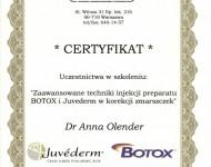 techniki iniekcji botoxu - zaświadczenie o ukończeniu kursu dla Dr Olender