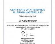 certyfikat dla Dr Olender specjalisty chirurga plastyka