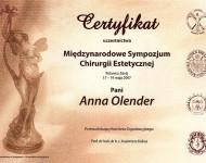 Certyfikat uczestnictwa w międzynarodowym sympozjum chirurgii estetycznej dla Dr Olender