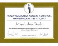 Dyplom polskiego towarzystwa rekonstrukcyjnego dla Dr Olender