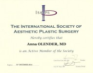 international society of aesthetic pastic surgery dokumnt czlonka zrzeszenia