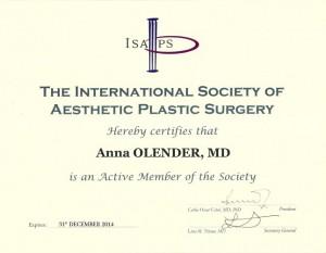 international society of aesthetic pastic surgery dokumnt czlonka zrzeszenia