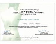 Onkoplastyka i chirurgia estetyczna - świadectwo ukończenia kursu